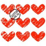 De Harten van Grunge Een reeks harten met diagonale grunge schaaft Stock Afbeelding