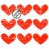 De Harten van Grunge Een reeks harten met horizontale grungespleten Stock Afbeeldingen