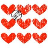 De Harten van Grunge Een reeks harten met verticale grungespleten Royalty-vrije Stock Foto