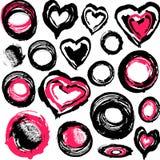 De harten van Grunge en andere voorwerpen Stock Foto's