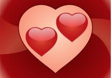 De harten van het paar. Prentbriefkaar vector illustratie