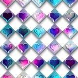 De harten van schetskrabbels op geruite achtergrond Stock Fotografie