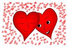 De harten van valentijnskaarten Stock Afbeeldingen