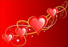 De Harten van valentijnskaarten Stock Foto's