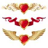 De harten van valentijnskaarten met decor Stock Fotografie