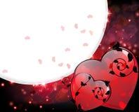 De Harten van valentijnskaarten met zwarte bloemenelementen Stock Afbeelding