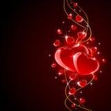 De harten van valentijnskaarten op donkere achtergrond Stock Foto