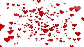 De harten van de valentijnskaartendag het vliegen De achtergrond voorzag video van een lus Wit BG stock videobeelden