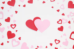 De harten van Valentine op witte close-up als achtergrond Royalty-vrije Stock Fotografie