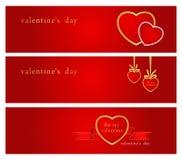 De harten van Valentine´s - banners. Stock Fotografie