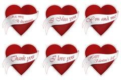 De harten van zes Valentine Stock Afbeelding