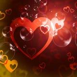 De hartenachtergrond betekent Romaanse Liefde en Hartstocht Royalty-vrije Stock Afbeeldingen