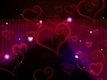 De hartenachtergrond toont Liefde Affectie en het Aanbidden Royalty-vrije Stock Afbeeldingen