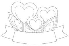 De hartinstallaties met doorbladert en lint met plaats voor tekst Stock Foto