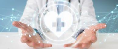De hartslag het digitale interface van de artsenholding 3D teruggeven Stock Afbeeldingen