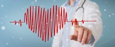De hartslag het digitale interface van de artsenholding 3D teruggeven Stock Fotografie