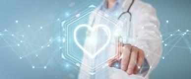 De hartslag het digitale interface van de artsenholding 3D teruggeven Royalty-vrije Stock Foto's
