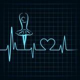 De hartslag maakt een van het yogameisje en hart symbool Stock Afbeeldingen
