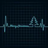 De hartslag maakt Vrolijke Kerstmisteksten en boom vector illustratie
