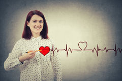 De hartslag van de vrouwentekening stock afbeelding