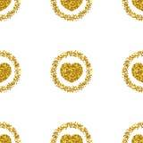 De hartvorm van goud schittert Het hart schittert patroon Gouden fonkelingen stock illustratie