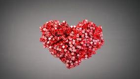 De hartvorm van kleine rode glanzende 3D stukken geeft terug royalty-vrije illustratie
