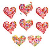 De hartvormen plaatsen voor het ontwerp van de t-shirthippie met abstracte bloemen, het symbool van de hippievrede en vrede, lief vector illustratie