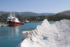 De haven van Argostoli, Kefalonia, September 2006 stock foto