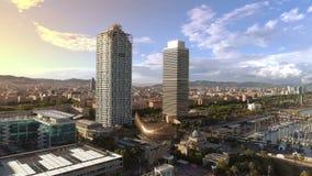 De Haven van Barcelona Olimpic stock video