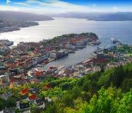 De haven van Bergen, Noorwegen Stock Afbeeldingen