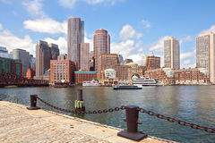 De Haven van Boston en Financieel District Boston, Massachusetts, de V.S. Royalty-vrije Stock Foto