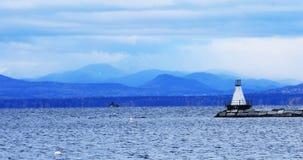 De haven van Burlington, Vermont met vuurtoren royalty-vrije stock afbeelding