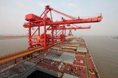 De haven van China Qingdao en de terminal van het tonijzererts stock foto's