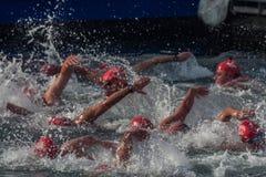 De HAVEN van de KERSTMISdag ZWEMT 2015, BARCELONA, Haven Vell - 25 December: de zwemmers rennen op 200 meters afstands Stock Afbeelding