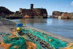 De Haven van Dunbar en Kasteel, Oost-Lothian Schotland Stock Fotografie