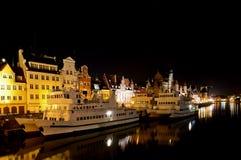 De haven van Gdansk bij nacht Stock Foto's