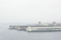 De haven van Havana in de mist Stock Afbeeldingen
