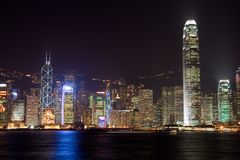 De Haven van Hongkong Victoria bij nacht royalty-vrije stock fotografie
