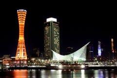 De Haven van Kobe bij Nacht Royalty-vrije Stock Foto's