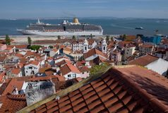 De haven van Lissabon, Portugal Stock Afbeelding
