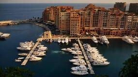 De haven van luxejachten in de baai van Monaco, Frankrijk Stock Foto's