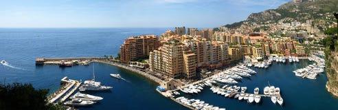 De haven van Monte Carlo - panorama Royalty-vrije Stock Afbeeldingen