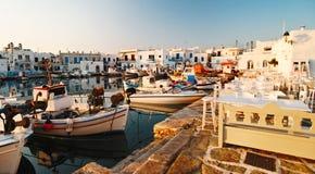 De haven van Naoussa, Paros Stock Afbeeldingen