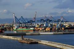 De haven van Napels bij zonsondergang Royalty-vrije Stock Foto