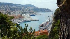 De haven van Nice, sightseeingsplaats Frankrijk, watervervoer, cruisevrije tijd, jachthaven stock footage