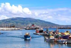 De haven van Pontadelgada op het eiland van Saomiguel, de Azoren Stock Foto