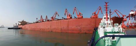 De haven van Qingdao, China de terminal van het 20 tonijzererts stock fotografie