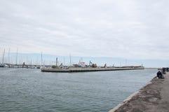 De haven van rimini op een regenachtige dag Royalty-vrije Stock Afbeeldingen