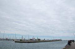 De haven van rimini op een regenachtige dag Stock Foto's