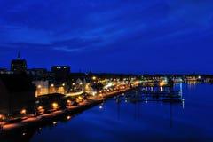 De haven van Rostock bij nacht Stock Afbeelding
